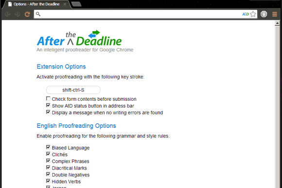 After the Deadline Chrome extension screenshot