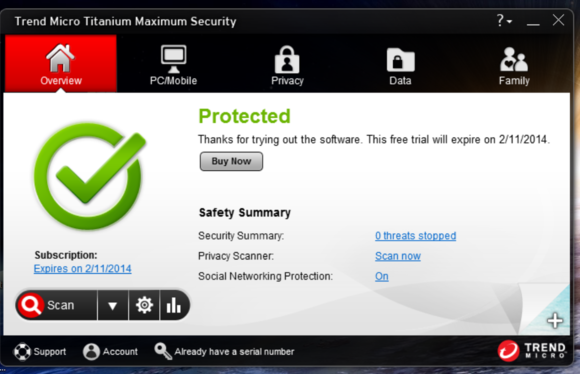trend micro main screen