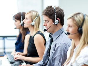 People working in a call center 131581032
