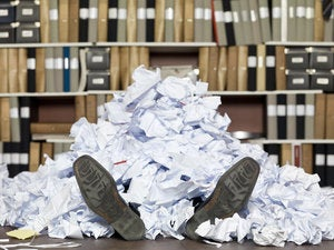 buried under documents