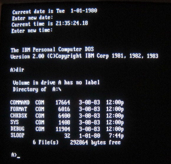 ms dos screenshot
