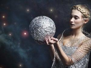 woman silver orb