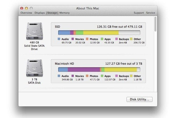 about mac storage