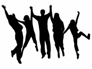 cheering silhouette jump for joy celebrate group people party winning