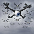 conceptual illustration of flying drones with large eye