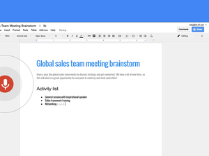Google Docs voice commands