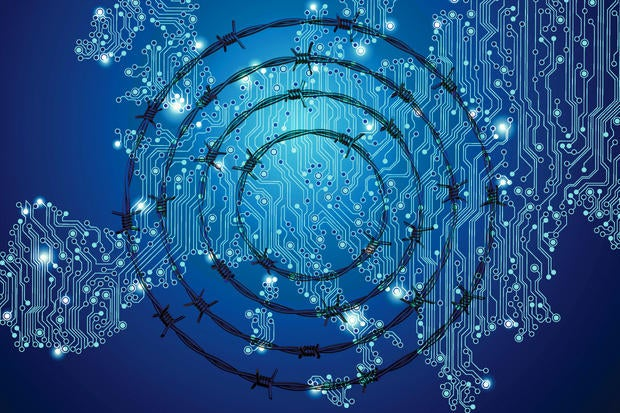 <HOLD UNTIL JUNE FOR CW COVER> digital europe circuit board barbed wire barrier obstacle thinkstock